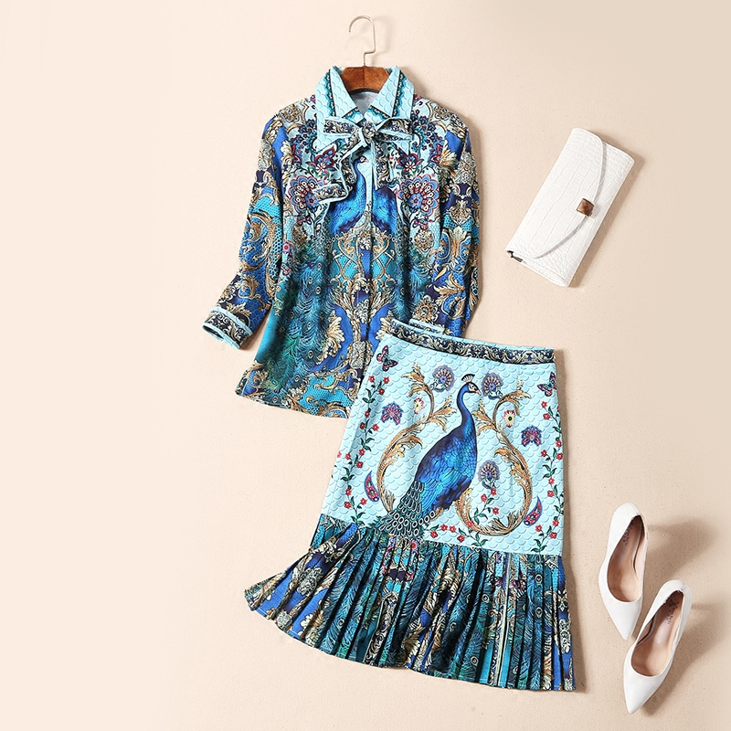 New Spring Summer Europe And United States Printing Turn down Collar Blouse Pleated Package Hip Knee