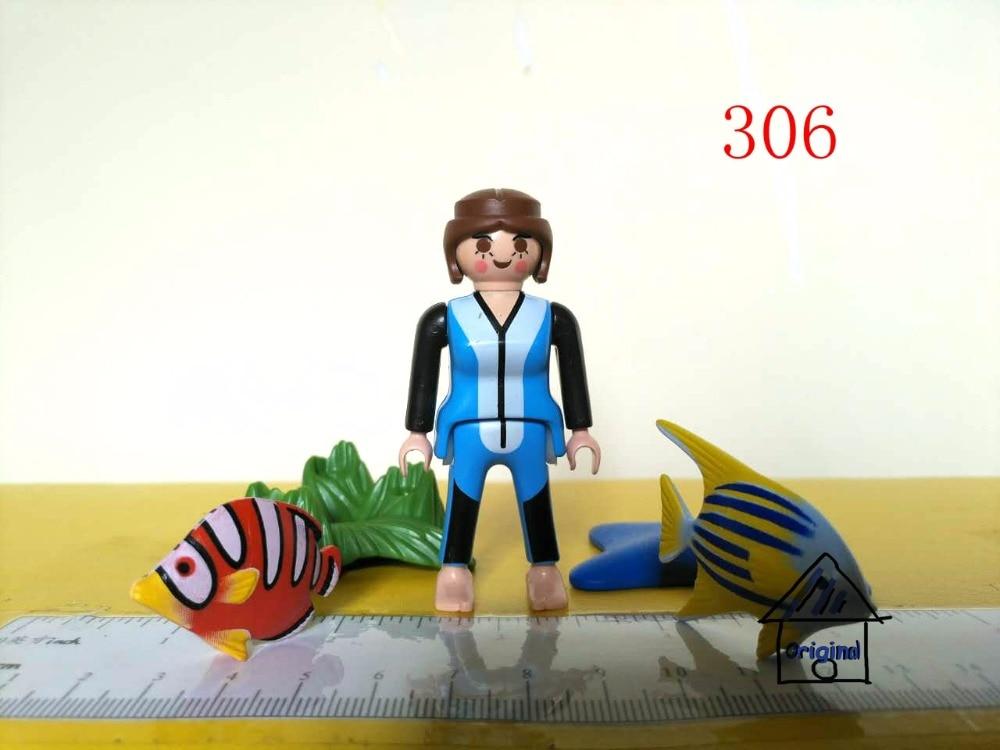 1 set playmobil leksak som låtsas leksaks fisk Marine Taming Trainer - Toy figuriner