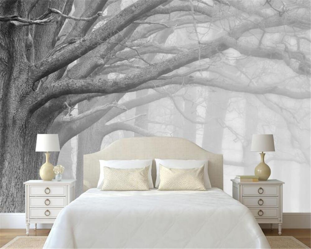 Beibehang 3D Tapete Wohnzimmer Schlafzimmer Wandmalereien Moderne Schwarz  Und Weiß Wald Baum Kunst TV Wandmalereien Tapete Für Wände 3 D