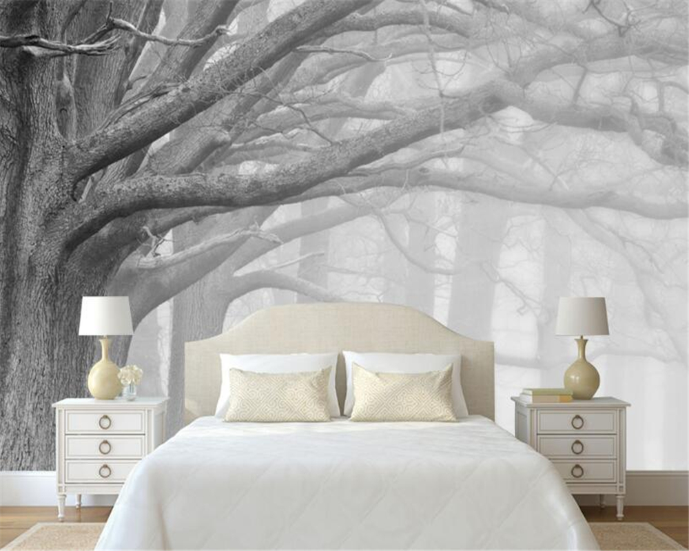 Buy beibehang 3d wallpaper living room for Black and white tree wallpaper mural
