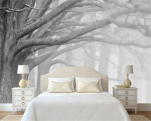 Beibehang 3D wallpaper living room bedroom murals modern black and white forest tree art TV wall murals wallpaper for walls 3 d white and black 3d wallpaper modern for living room murals 3d room wallpaper landscape home decoration