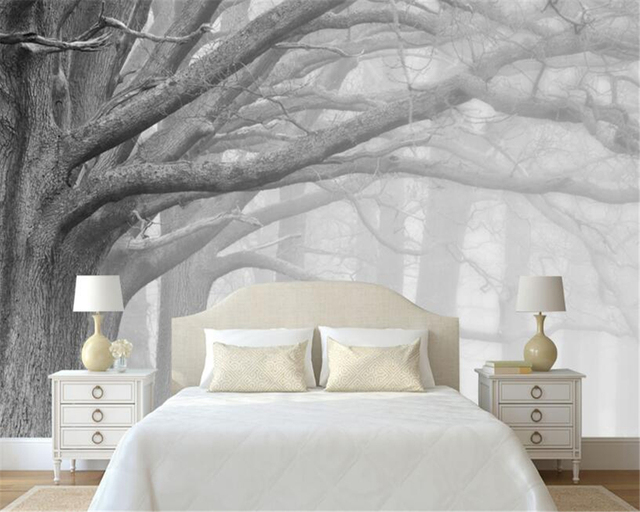 Tree design wallpaper living room for Tree wallpaper bedroom