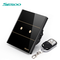 EU Standard SESOO Remote Control Switches 2 Gang 1 Way Crystal Glass Switch Panel Remote Wall
