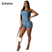Women Summer Backless Playsuit Jeans Denim Sexy Bodycon Bodysuit Lace Up Spaghetti Strap Playsuit Jumpsuit Club Outfit Rompers