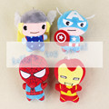 Hot 4pcs/lot Marvel The Avengers Thor Captain America Spiderman ironman keychain keyring pendant stuffed plush toy