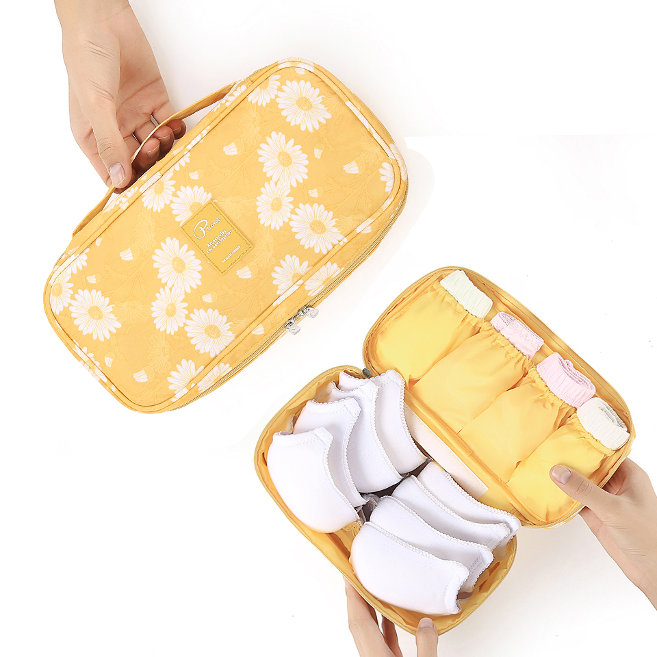 Image 3 - Travel Underwear Organiser, New Daisy Yellow Large Capacity Waterproof Women Ladies Bra Case Travel Pouch Bag Multiple Pockets-in Drawer Organizers from Home & Garden
