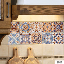 Home Decorative Moroccan Tiles PVC Wall Stickers,Retro Tile Art Decal,Adhesive Waterproof Kitchen Bathroom Furniture Decor