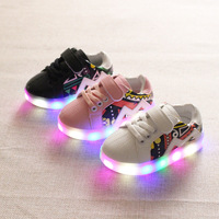 2017 European Fashion Printing High Quality Children Casual Shoes LED Shinning Baby Girls Boys Shoes Classic