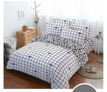 White and black striped plaid bedding sets simple fashion style bed linen duvet cover sheet pillow case set king queen size