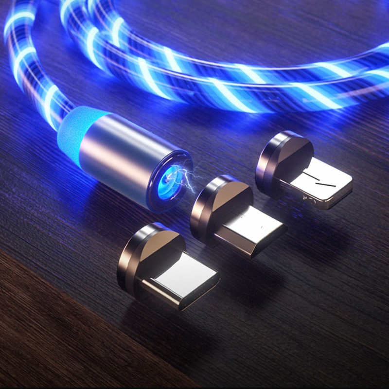 Magnetic Flowing LED Micro USB Cable For Samsung S10 S9 Type-c Charging Charge For IPhone
