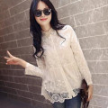 2016 Hot Women blouses shirt Fashion long sleeve embroidered lace shirt turn down Collar women lace tops