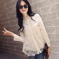 2016 Hot mulheres blusas camisa moda renda bordada de manga comprida gola virada para baixo mulheres lace tops