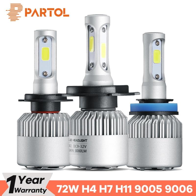 Partol H4 Auto LED Scheinwerfer Lampen 72 watt 8000LM H7 LED H11 Auto LED H1 Scheinwerfer 9005 9006 Auto Lichter automobil Scheinwerfer 6500 karat 12 v