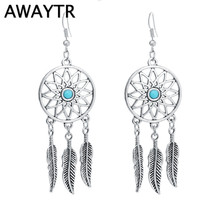AWAYTR Bohemia Hollow Long Feather Leaves Drop Earring Dream Catcher Statement Earring Women Handmade Vintage Jewelry