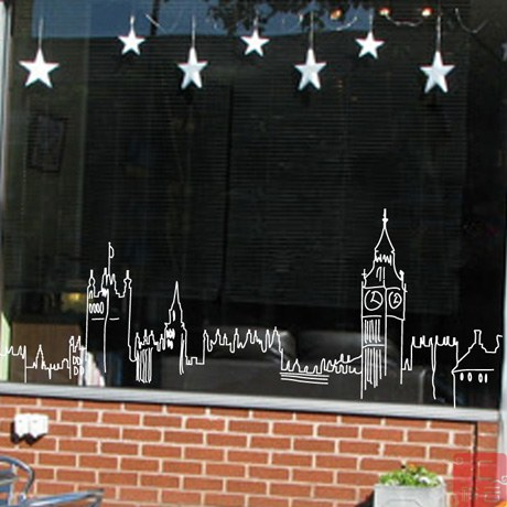 London silhouette coffee shop window decoration large glass door stickers window stickers wall stickers in wall stickers from home garden on