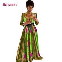 2017 Autumn African Dresses for Women Bazin Riche Sleeveless V neck Vestidos Dashiki Kanga Ankara Clothes WY1574