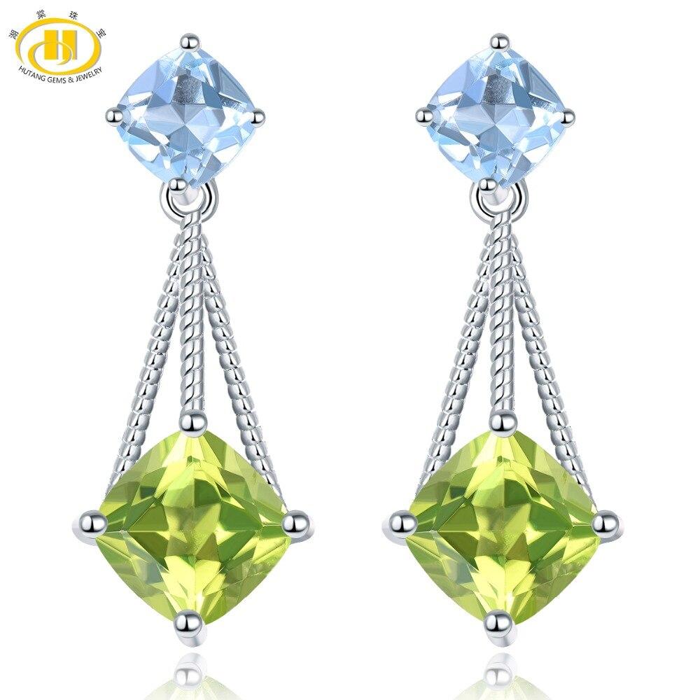 Hutang Peridot Stud Earrings Solid 925 Sterling Silver Natural Gemstone Sky Blue Topaz Fine Fashion Stone