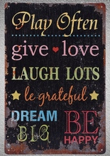 1 pc Life quotes love dream laugh grace Tin Plate Sign wall plaques man cave Decoration Dropshipping Poster metal