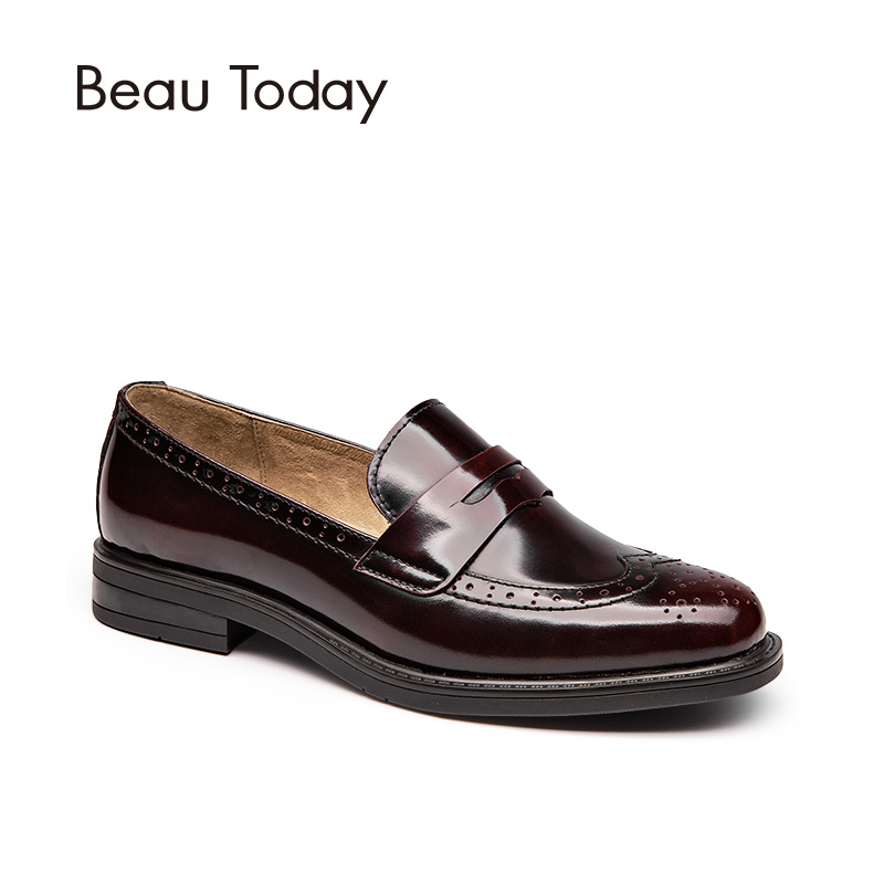 BeauToday Penny Loafer Women Genuine Cow Leather Round Toe Slip On Shoes Style Patent Leather Brogue Flats Handmade 27039 beautoday genuine leather crystal loafer shoes women round toe slip on casual shoes sheepskin leather flats 27038