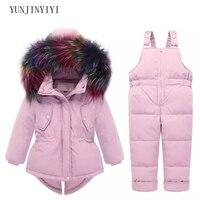 2018 Russian winter children's clothing set warm duck down jacket for baby girl kids snow coat jacket children's suit fur collar