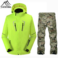 SAENSHING Camouflage Ski Suit Men Waterproof Winter Ski Jacket Snowboard Pants Super Warm Snowboarding Suits Outdoor