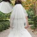 Hot Sale 2014 In Stock Wedding Veil Four Layers Rhinestone White / Ivory Tulle Comb Bridal Accessory