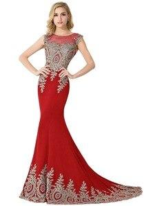 Image 3 - Элегантное Длинное Вечернее Платье Русалка 2021, женское официальное платье с золотистой аппликацией для девушек, платье в пол