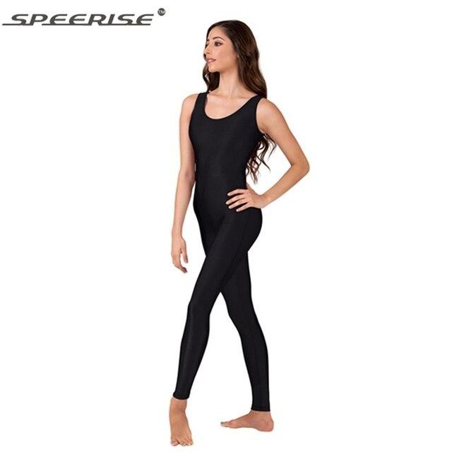 97615ae2a815 SpeerisePlus Size Womens Lycra Spandex Unitard Tank Top One Piece Dance Ballet  Gymnastics Leotard Catsuit Black Unitard Bodysuit