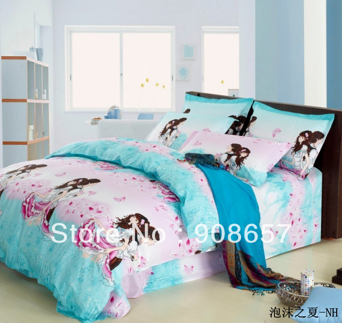 turquoise pink girl boy print special bedding cheaper comforter ...