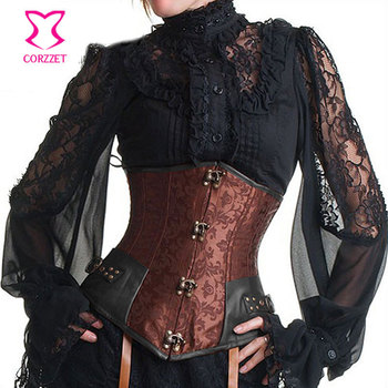 Vintage Brown Brocade Steampunk Underbust Corset Steel Bone Slimming Waist Trainer Corsets and Bustiers Sexy Gothic Clothing corzzet corset sexy gothic gray leather steel boned zipper overbust corsets and bustiers waist slimming steampunk corselet