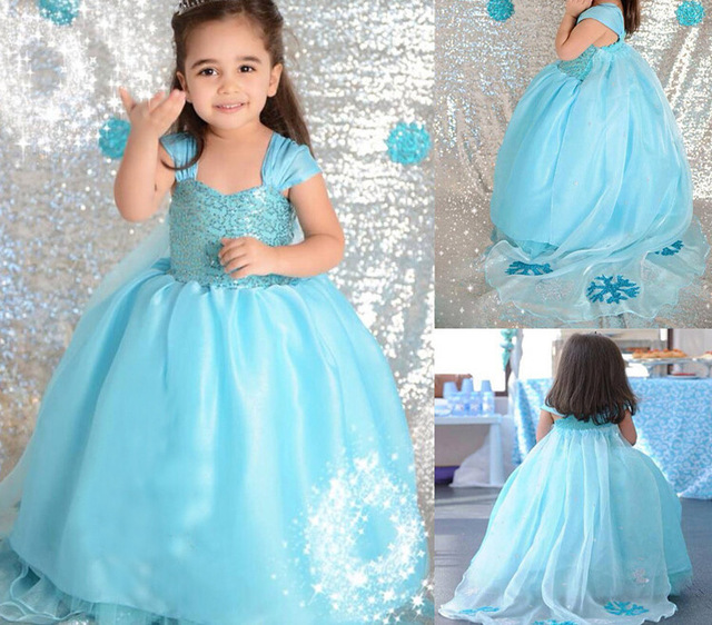 71a725579 Girls wedding dress Elsa princess dress long maxi party clothes ...
