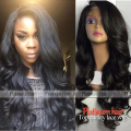 Natural Hairline Synthetic Lace Front Wig Black Color Side Part Wigs Heat Resistant Body Wave Wigs For Black Women