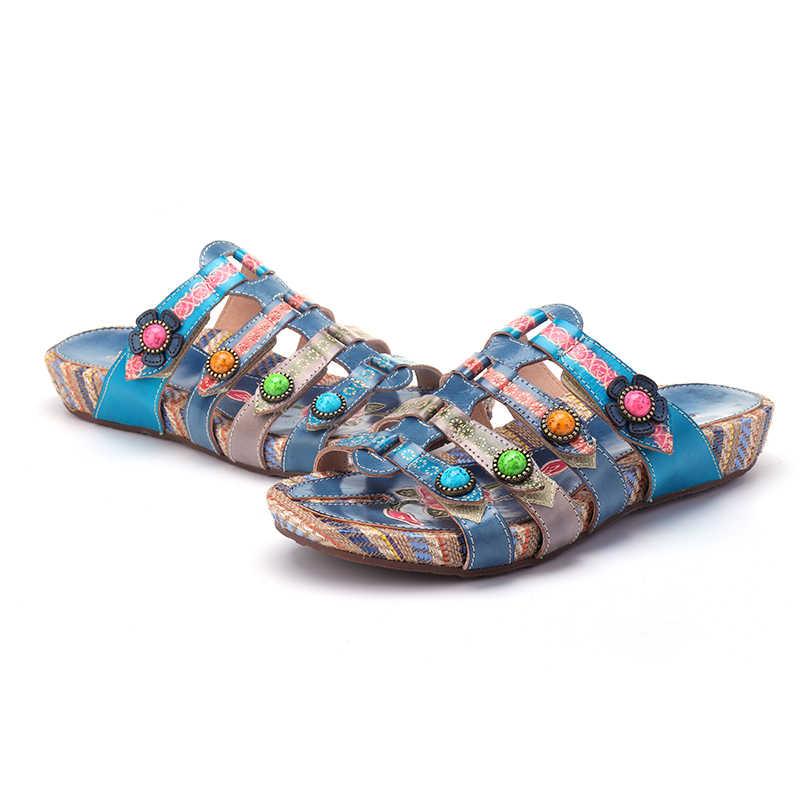 Socofy รองเท้าแตะฤดูร้อนผู้หญิงรองเท้าแตะ Peep Toe รองเท้าแตะสบายๆชายหาดกลางแจ้งรองเท้าผู้หญิง