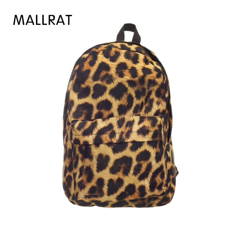 MALLRAT Women Canvas Backpacks Fashion Leopard Grain Face 3D Printing School Bag For Teenagers Girls Shoulder Bag Mochila emoji black 3d printing 2017 high quality women canvas backpacks smiley school bag for teenagers girls shoulder bag mochila