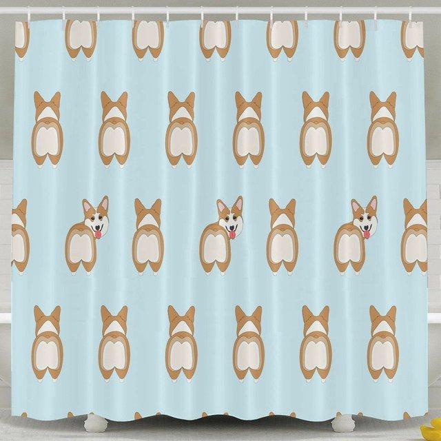 Cute Corgi Butt Shower Curtain Fabric Bathroom Shower Curtain Set