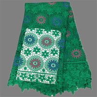 New Arrival Party Lace Green Guipure Apparel Amterial Mesh Lace Embroidery African Water Soluble Lace EW3