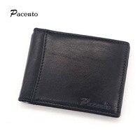 Luxury Brand Vintage Wallet Genuine Leather Men Money Clips Clamp For Money Holder Credit Card Case