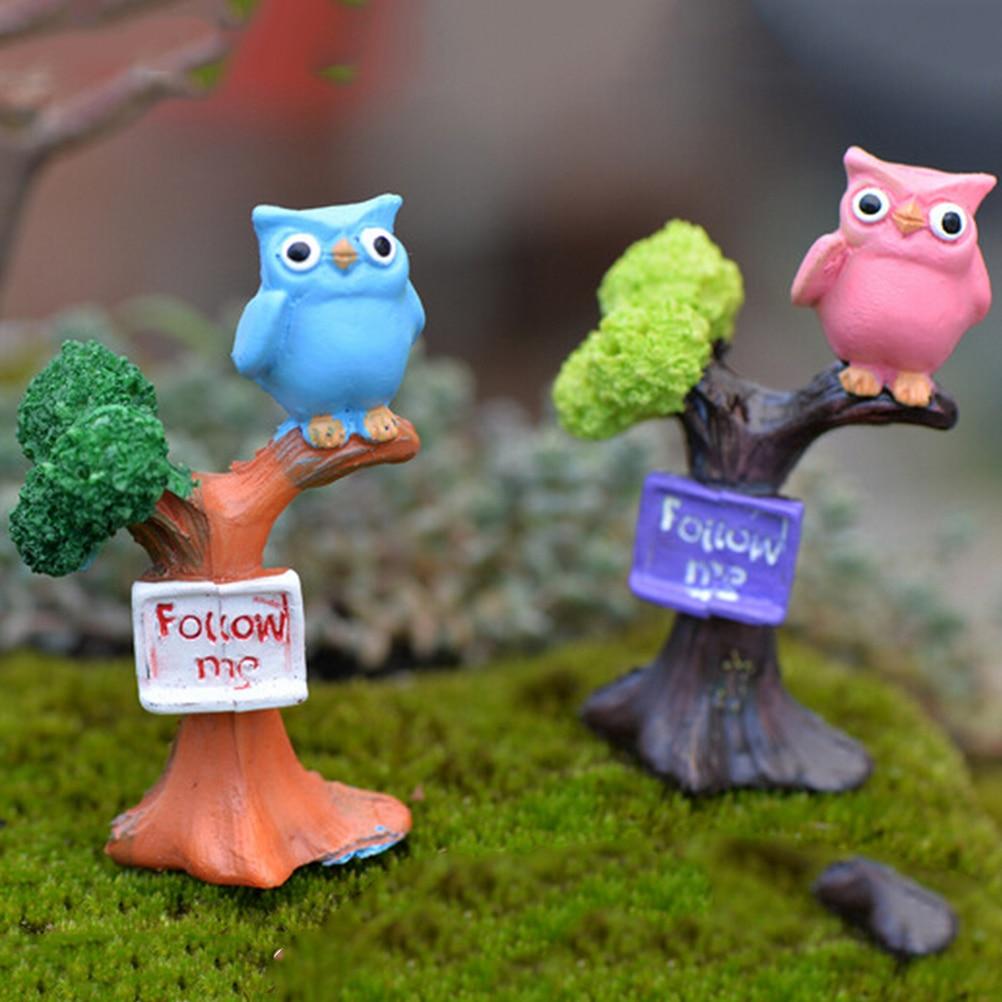 DIY Resin Owl & Tree Branch Mini Crafts Miniatures Fairy Garden Ornaments Bonsai Micro Landscape Garden Decoration home decor