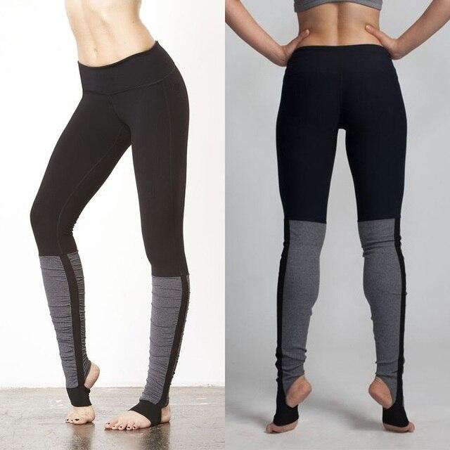 JIGERJOGER 2017 Étrier legging taille Haute Bande avec poche Solide Noir de  Femmes De Yoga Pantalon c955d2d6c03