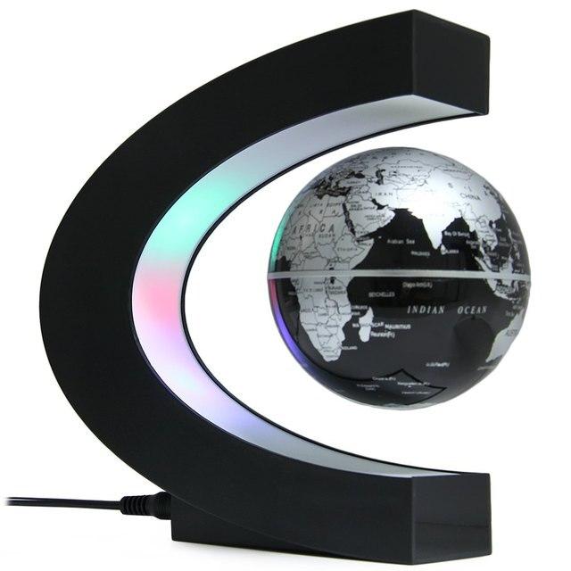 Творческий C Форма Магнитной Левитации Плавающий Глобус Карта Мира с Красочный Светодиодные для Украшения Стола Подарок На День Рождения 2016 Новый