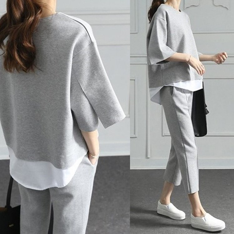 2019 Autumn Casual O-Neck Fake Two Pieces Top 3/4-Length Pants Two-piece Sets Loose Splits Sleeve Cotton Suits