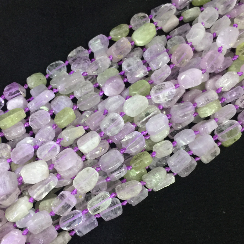 Quality Natural Genuine Clear Pink Purple Yellow Triphane Kunzite Hiddenite Flat Rectangle Squre Cube Beads Fit Jewelry 05518 cube natural fit l f