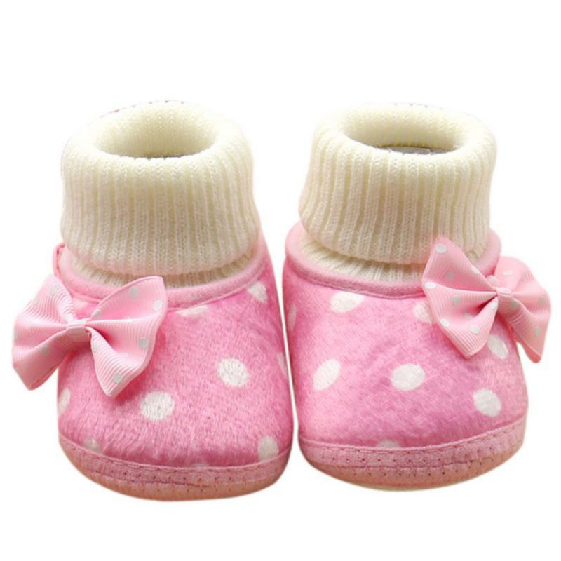 Baby Girls Shoes Polka Dot Bowknot Warm Winter Boots Toddler Infant Non Slip Booties CY1