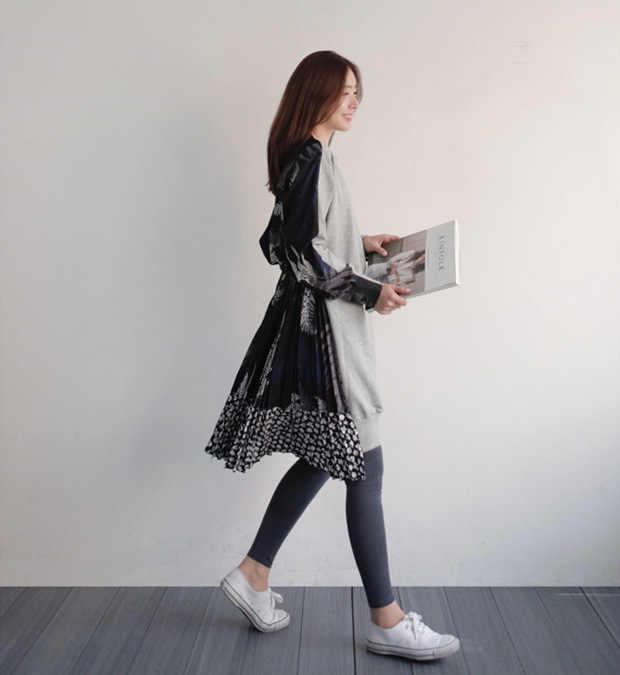 LANMREM 2020 zomer Nieuwe Vrouwen Mode Lange Mouw O-hals Losse Streep Stiksels Onregelmatige Zoom Jurk Vrouwelijke Tij B84501