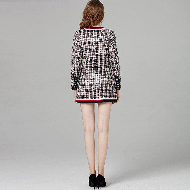 Mujer Écossais Manteau Femme Hiver Tweed Manches 2019 Haut À Gamme Femmes Laine Veste Tissu K6016 De Abrigos Invierno Longues Automne xzqRcSFP