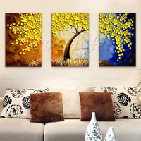 Hand Painted tree Oil painting,3 Pieces Panel Wall Art Palette Knife Painting For Living Room