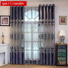 Embroidery Geometric finished product Velvet European Curtains For Living Room Semi-blinds Tulle Sheer Fabrics Bedroom