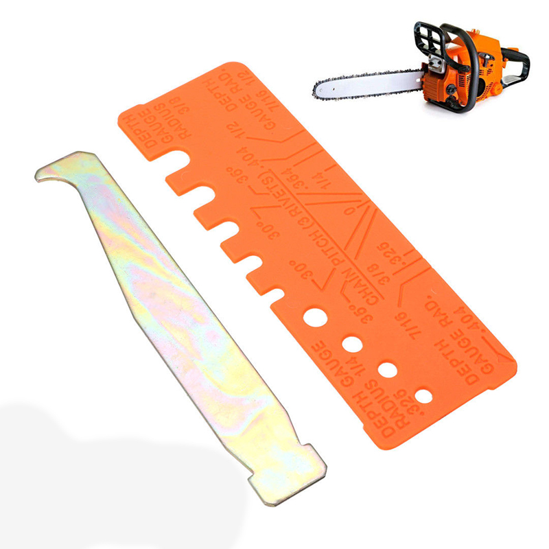 2pcs Set Chainsaw Chain Tools Quick-Check Gauge & Bar Groove Cleaner