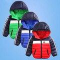2016 Зима тонкий пуховик моды девушки парни хлопка с капюшоном пальто дети куртка верхняя одежда для детей повседневная полосатый пиджаки 16A12