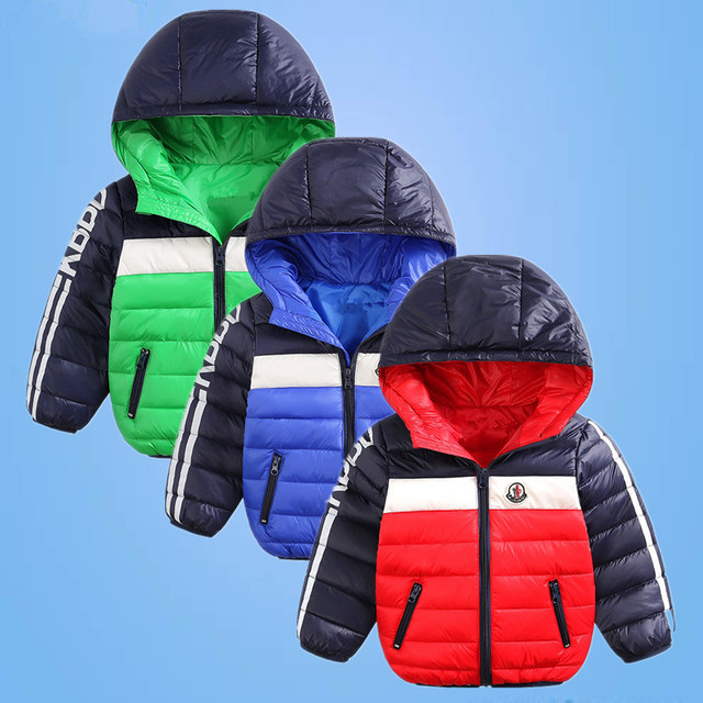 2016 Winter thin down jacket fashion girls boys cotton hooded coat children's jacket outwear kids casual striped outwear 16A12